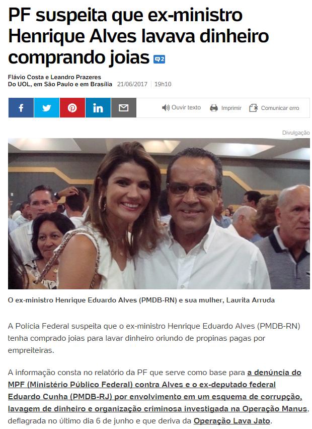 PF suspeita que ex-ministro Henrique Alves lavava dinheiro comprando joias