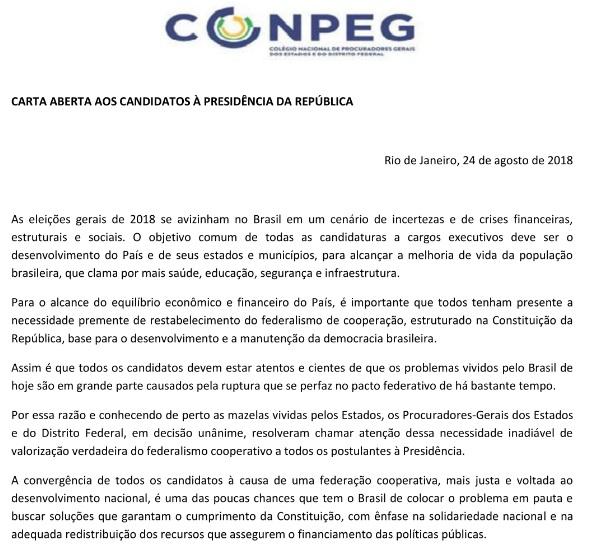 Colégio Nacional de Procuradores Gerais dos Estados divulga Carta Aberta aos Candidatos a Presidente da República