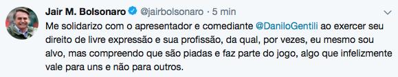 Bolsonaro se solidariza com o apresentador e humorista Danilo Gentili