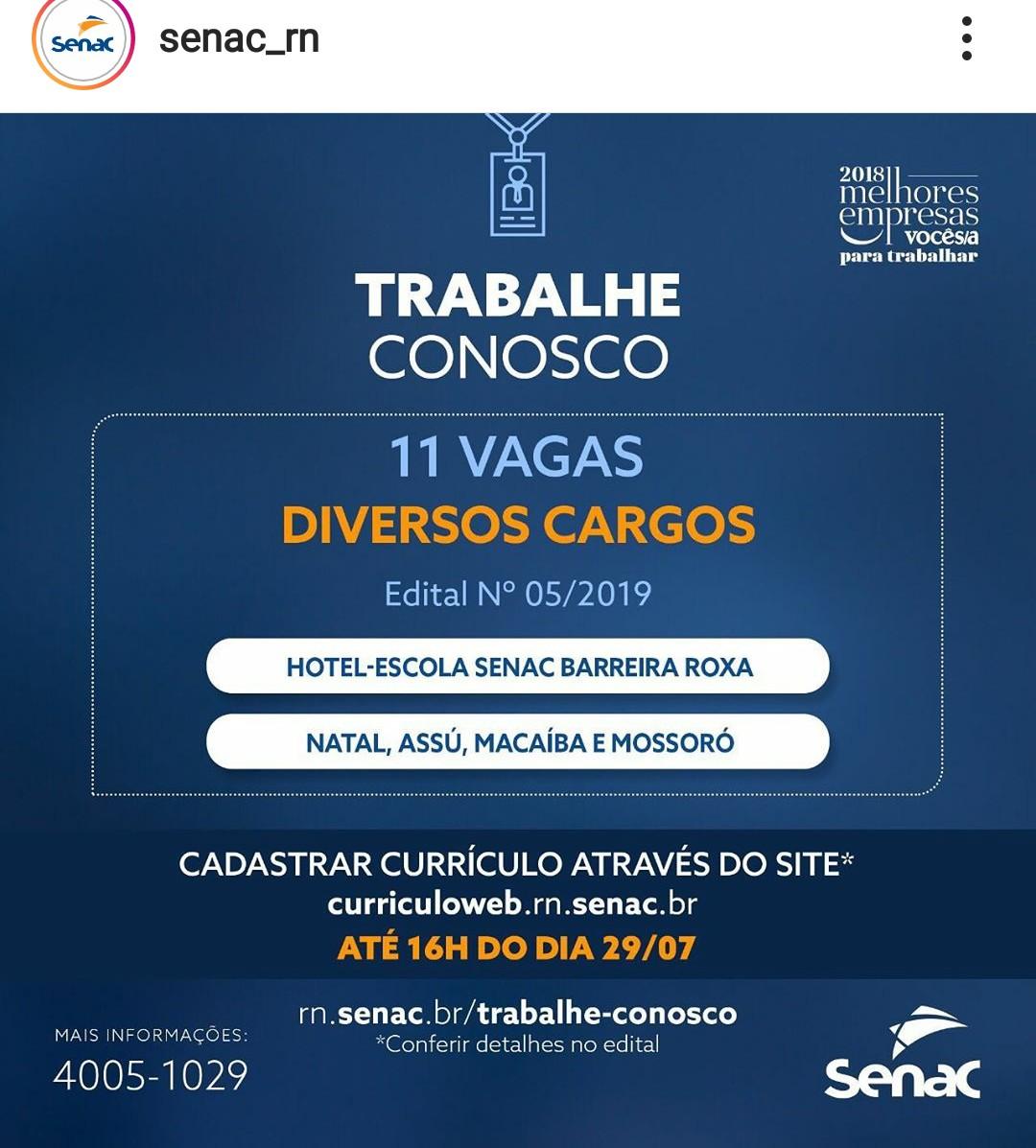 OFERTA DE TRABALHO: Senac-RN abre processo seletivo para 11 vagas em Natal, Macaíba, Assú e Mossoró