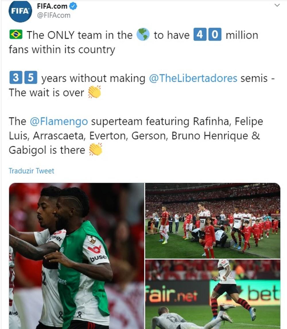 """Fifa destaca Flamengo nas semifinais: """"Único time no mundo com 40 milhões de torcedores"""""""