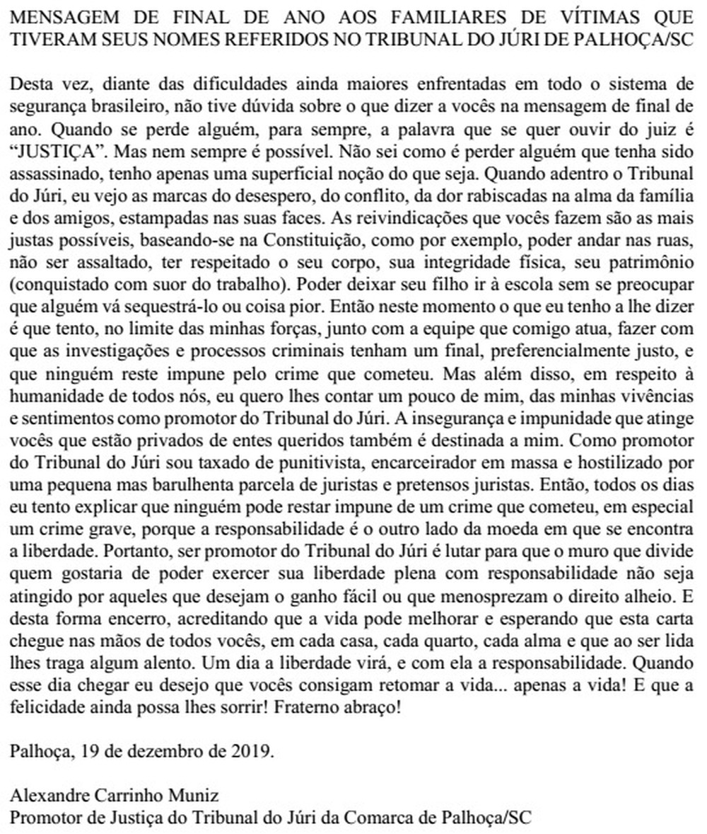 Juiz escreve carta especial de fim de ano para presos em SC e texto é alvo de elogios e críticas