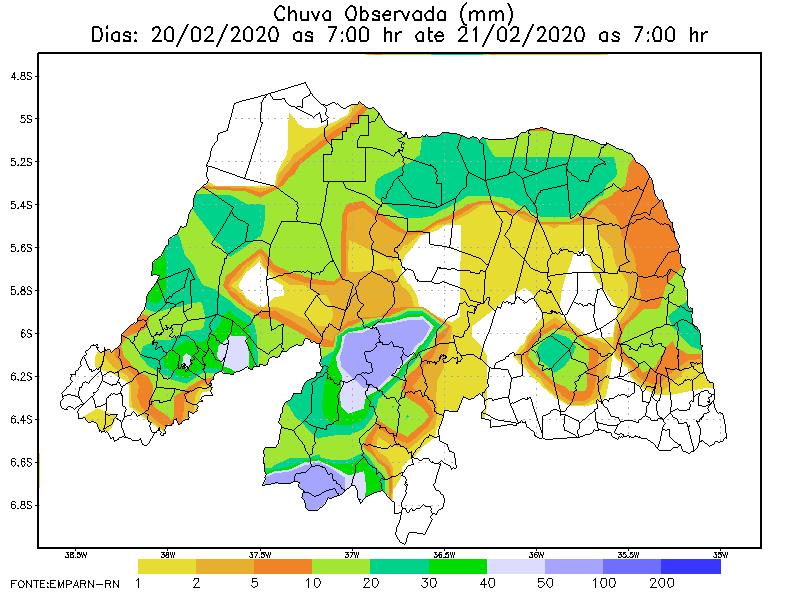 Últimas 24 horas registraram maior volume de chuvas em São João do Sabugi, Florânia e Martins; veja Natal e outros municípios