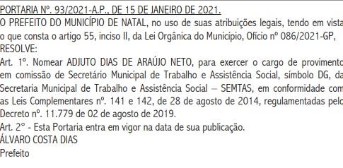 DOM Diário Oficial do Município de Natal publica nomeação de filho de Álvaro Dias como secretário de Assistência Social