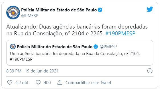 PMSP Agências bancárias são depredadas durante protesto contra Bolsonaro em São Paulo
