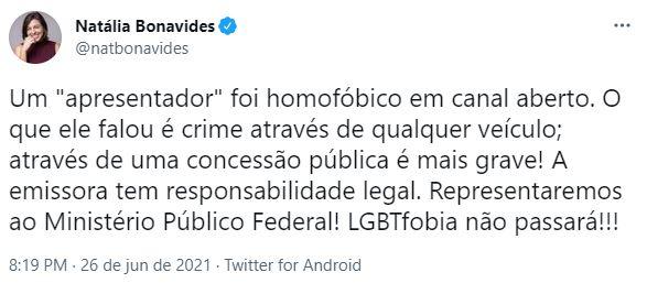 natalia-1 Sikêra Jr. critica agência de propaganda que criou campanha do Burger King e Natália Bonavides diz que vai acionar o MPF contra apresentador por LGBTfobia