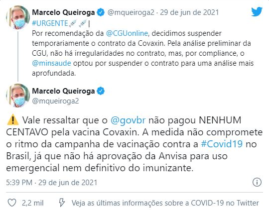 queiroga-tt Suspensão temporária de contrato de compra da Covaxin foi recomendada pela CGU