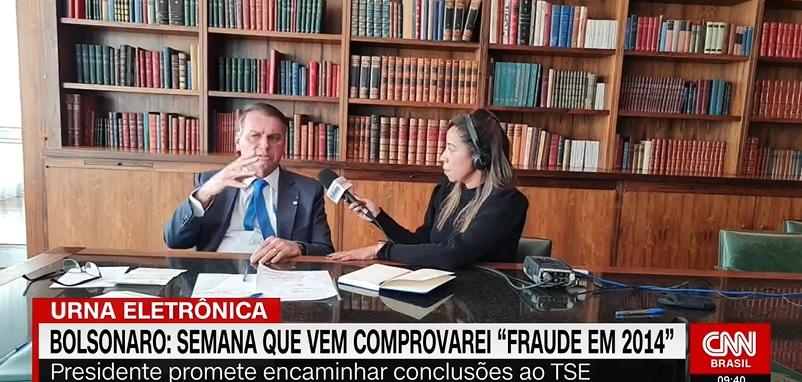 """""""Eu só consegui ser eleito porque tive muito voto. Eu vou comprovar semana que vem que teve fraude nas eleições de 2014"""", diz Bolsonaro"""