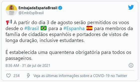 espanha Espanha libera entrada de voos do Brasil a partir do dia 3 de agosto