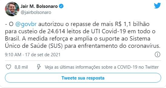 TTBolsonaro Covid: Bolsonaro anuncia repasse de R$ 1,1 bilhão para leitos de UTI; serão 24.614 para Covid-19 em todo o Brasil