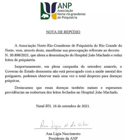 anp Associação de Psiquiatria do RN emite nota de repúdio contra o Governo do Estado por diminuição de leitos psiquiátricos do Hospital João Machado 21