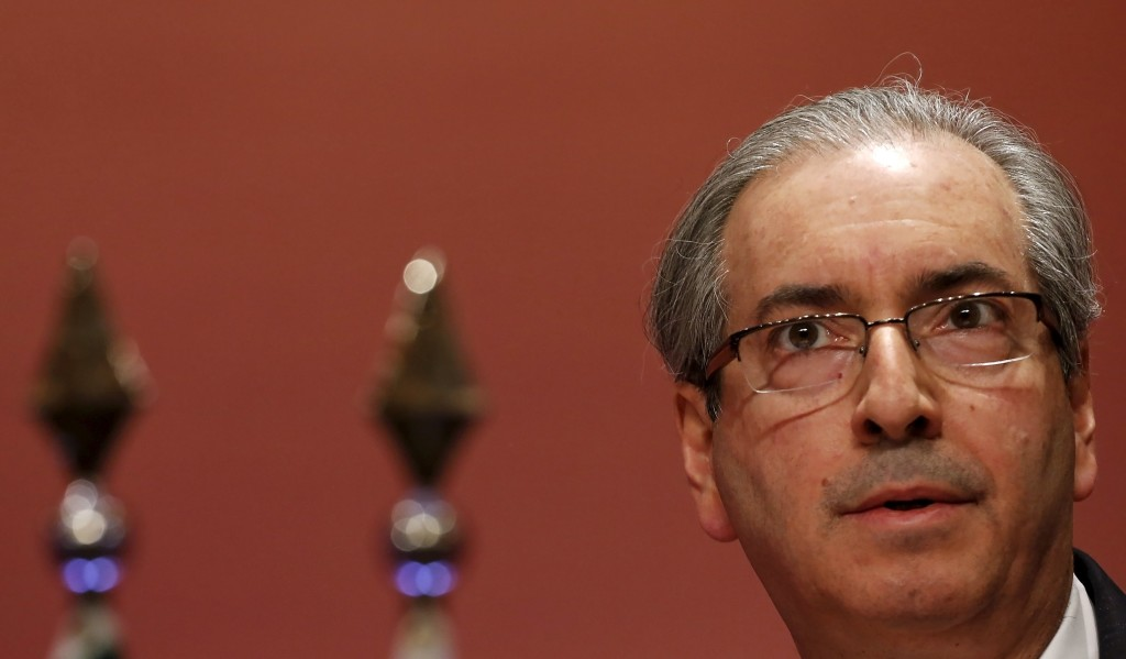 President of the Chamber of Deputies of Brazil Eduardo Cunha attends a meeting with businessmen in Sao Paulo in this July 27, 2015 file photo. Cunha, the speaker of Brazil's lower house of Congress was charged by prosecutors with corruption and money laundering on August 20, 2015, becoming the first sitting politician to be charged in a burgeoning kickback and bribery scandal. REUTERS/Nacho Doce/Files